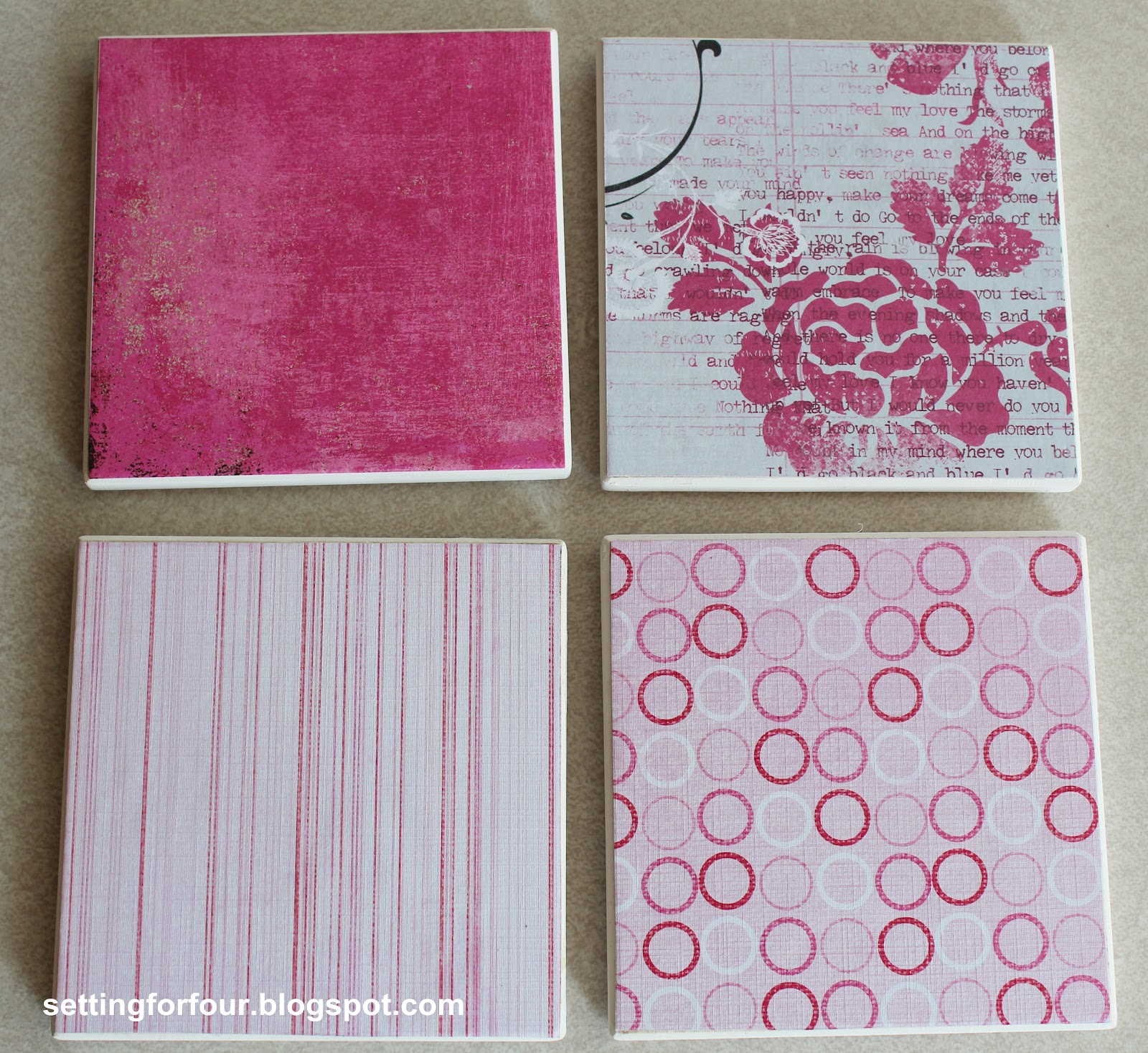 how to make easy mod podge gift diy coasters setting for four