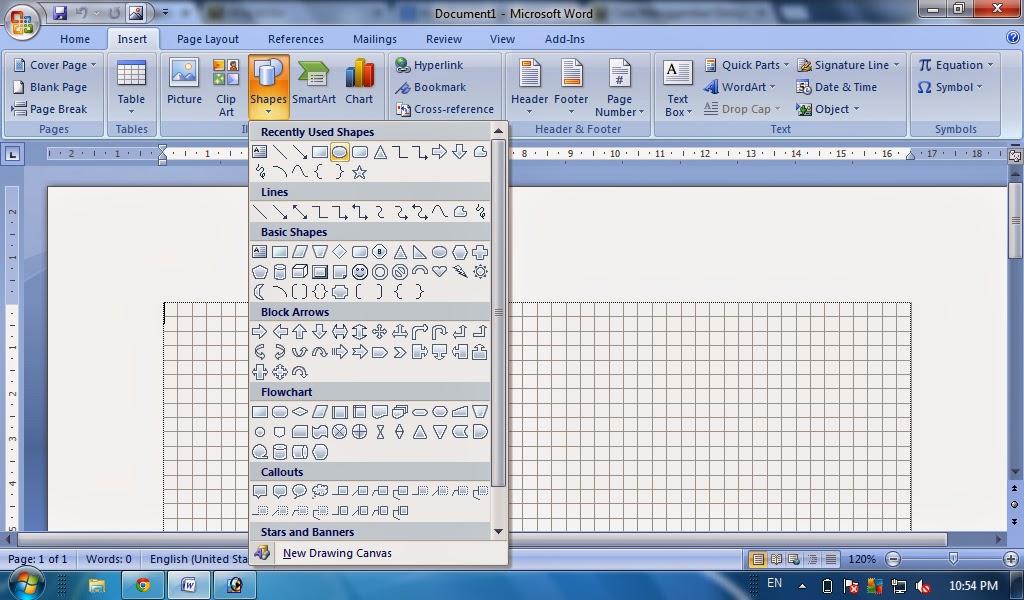 Cara membuat bangun datar dengan gridlines dengan ms word fungsi klik insert pada ribbon kemudian pilih shape pada group illustrations ccuart Gallery