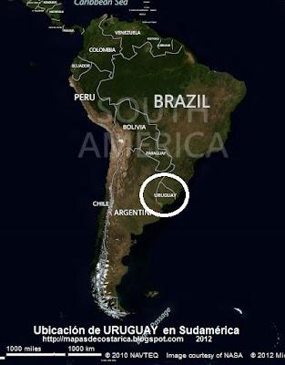 Ubicación de URUGUAY en Sudamérica, VA, BING