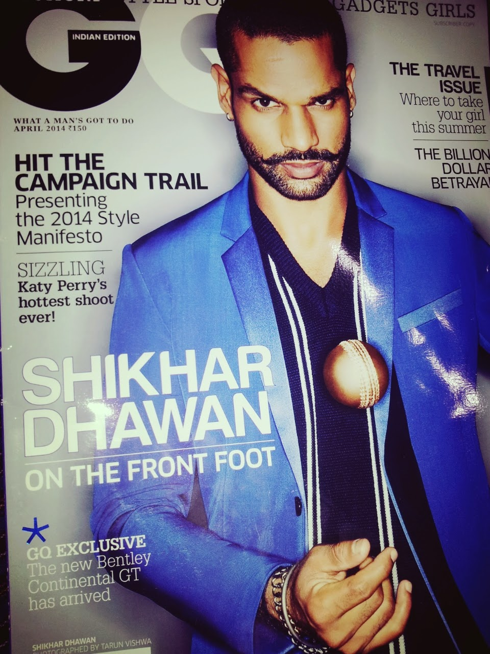 On The Stands | Indian Cricket's Moustache Man Shikhar Dhawan on Cover of GQ April 2014