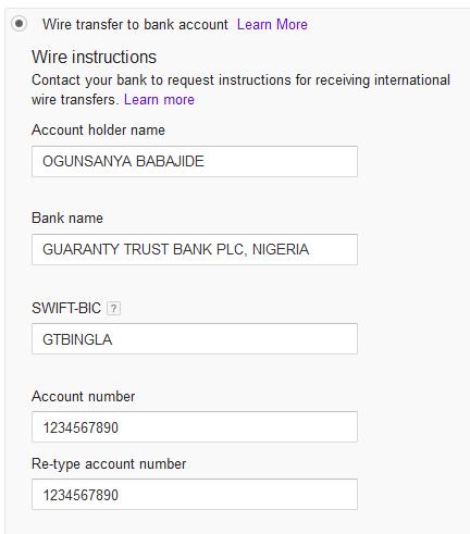 GTbank account details for Adsense