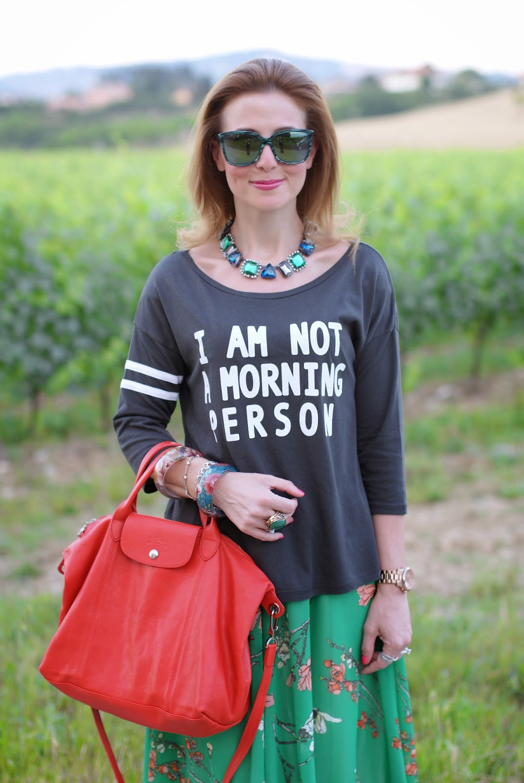 Not a morning person t-shirt, HYPE occhiali da sole, Longchamp Le Pliage cuir, Fashion and Cookies, fashion blogger