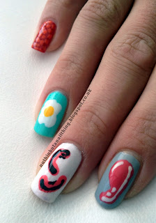 english breakfast nails sausage nail art