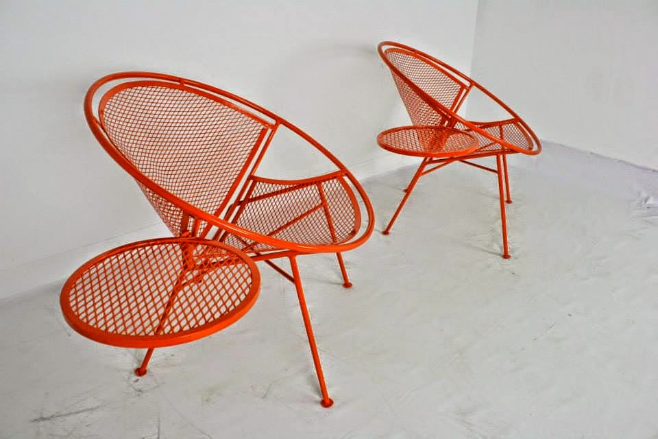 Salterini Chairs With Attached Side Tables