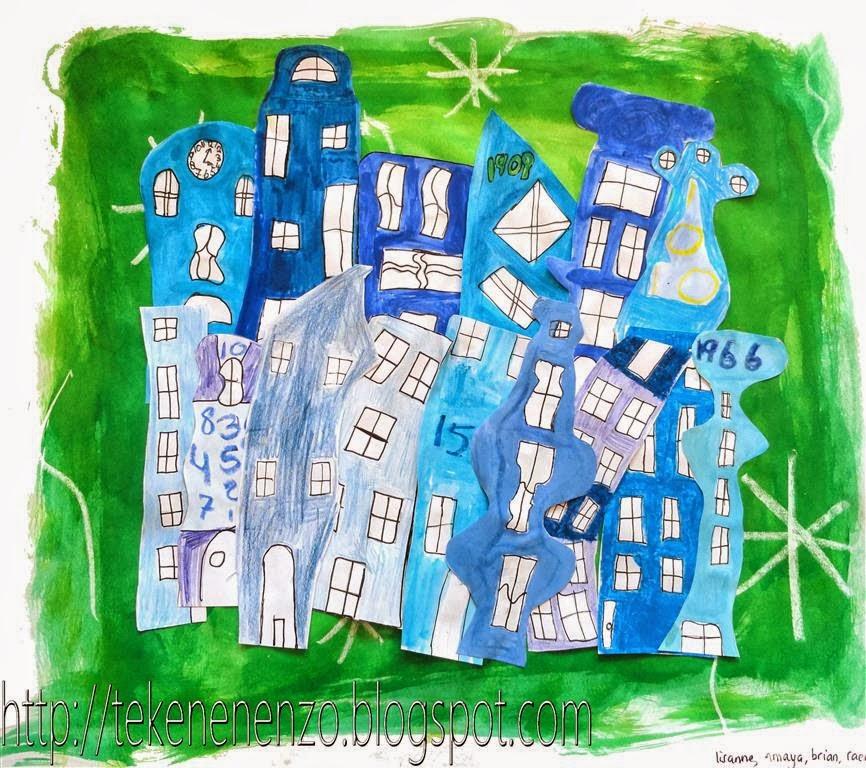 Tekenen en zo huizengroep in n kleur groepswerk naar for Huizen tekenen
