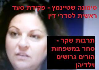 סימונה שטיינמץ - פקידת סעד ראשית לסדרי דין - תרבות שקר - סחר במשפחות הורים גרושים וילדיהן
