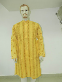 Lucknowi Chikan  Men Yellow  Kurta