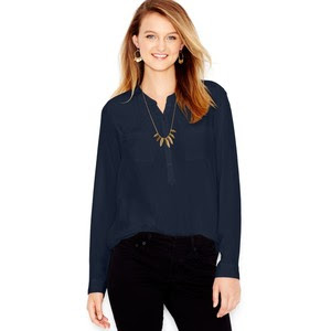 long sleeve silk navy blouse from Macy's