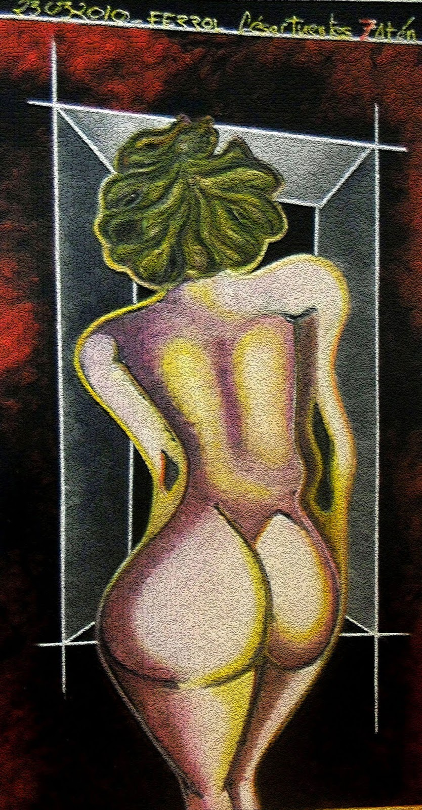 Obra de César Fuentes. Mujer frente a la ventana.