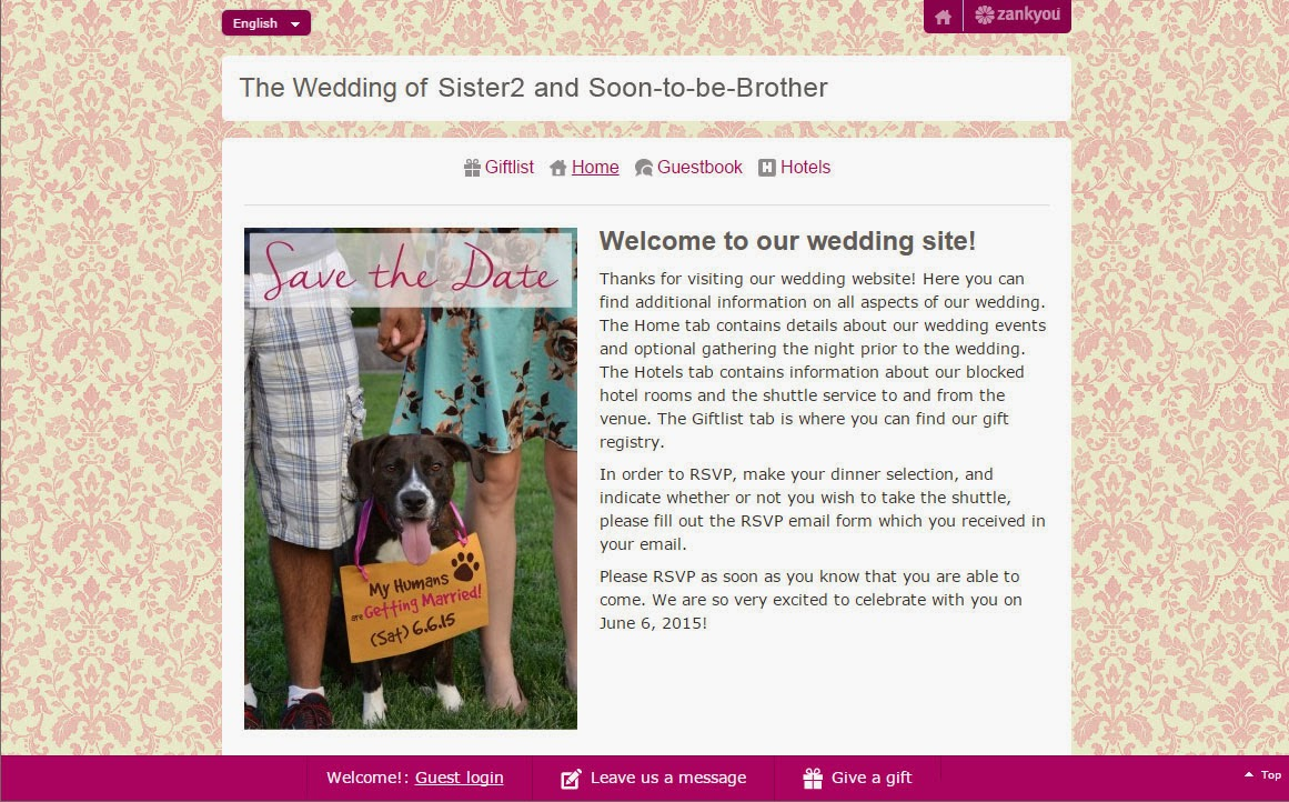 wedding website featuring save the date image with dog
