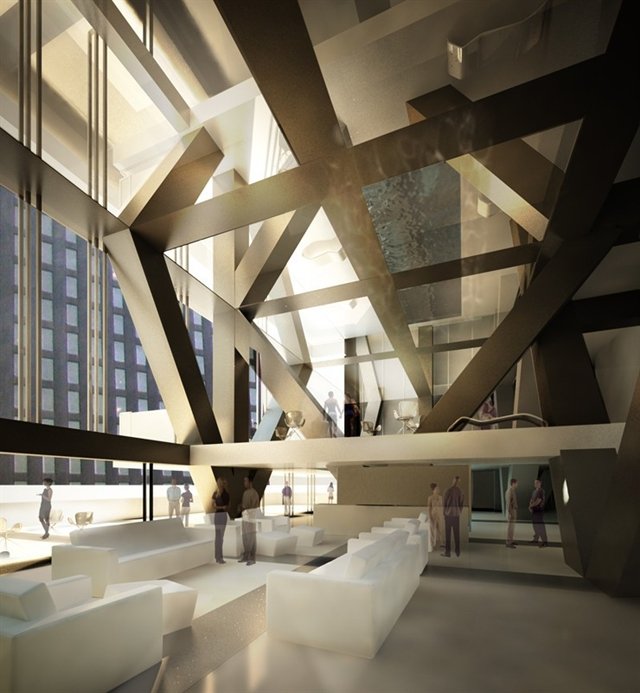 Picture of the lobby interior in the Tower Verre