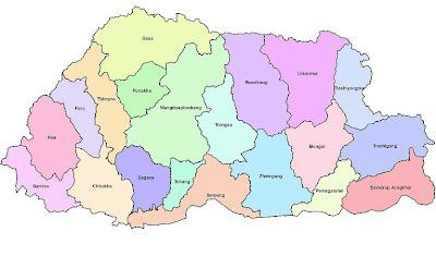 Mapa de Bután Mapa Región