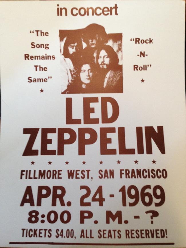 Poster falso do Led Zeppelin anunciando show no Fillmore West em 24/4/1969