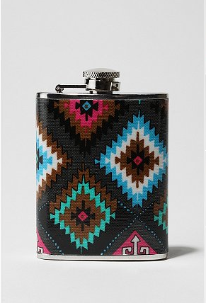Navajo Print Fabric Wrapped Flask