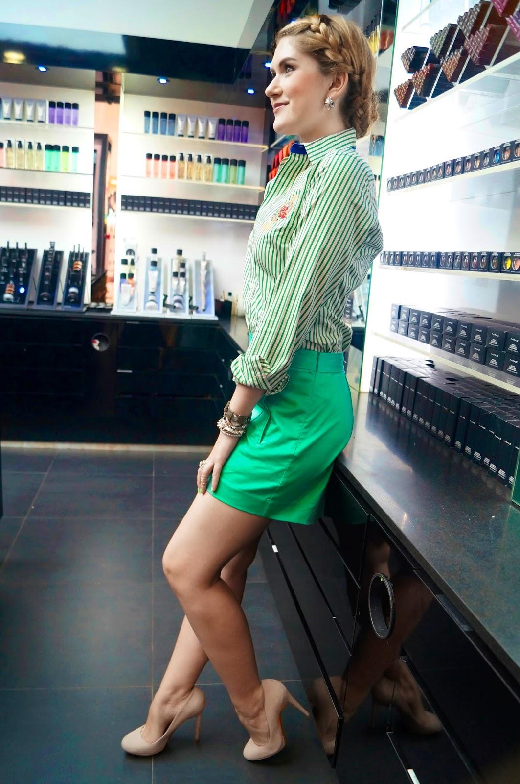 forever 21 shorts, ralph lauren shirt, shorts outfit, green shorts outfit, spring fashion, spring style