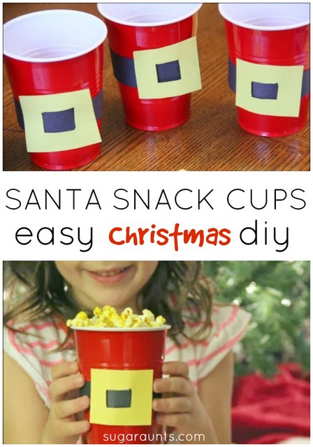 Santa snack cup DIY craft.  This is easy to make and perfect for family movie night!