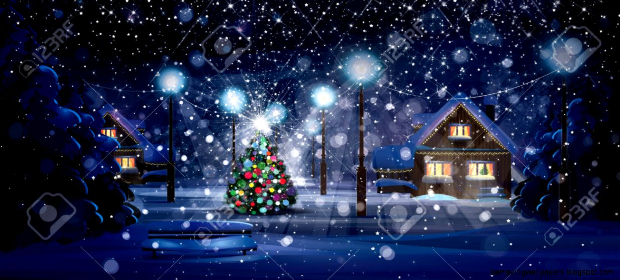 Cartoon Winter Night Scene Stock Photo Picture And Royalty Free