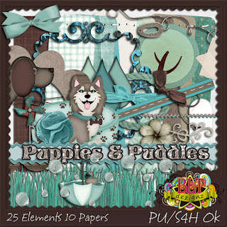 "Free scrapbook full size kit ""Puppies and Puddles"" from Blt Dezignz"