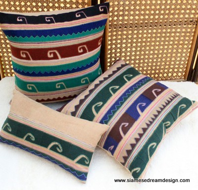 Akha tribal opium knife symbols on ivory cushions / pillows