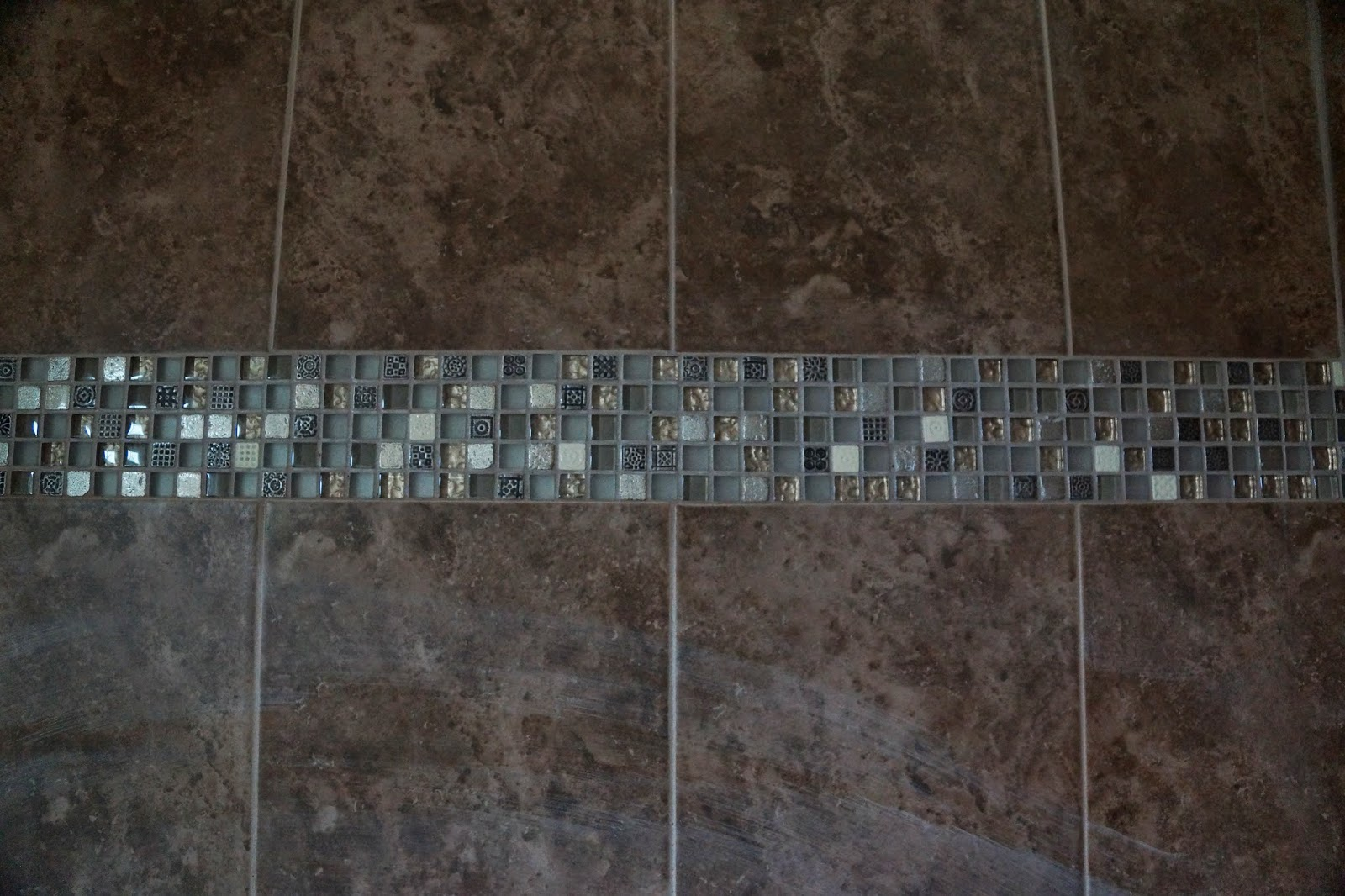 Tile work in bathrooms - Picture Of The Master Bathroom Wall Tile Up Close