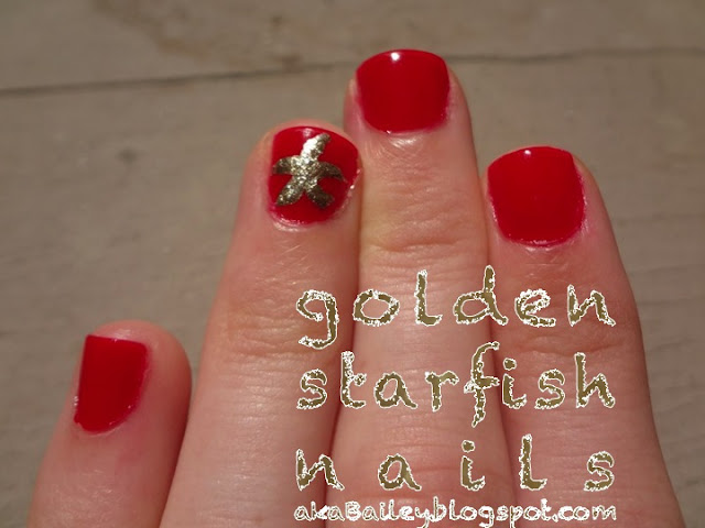 Golden Starfish Nails