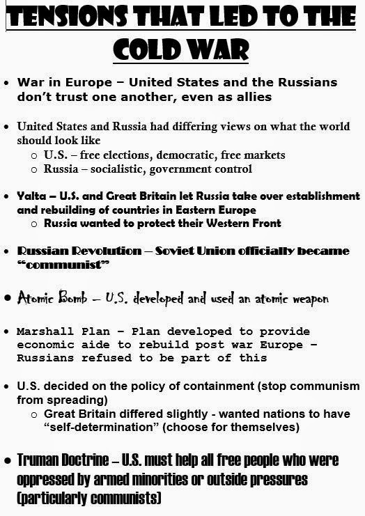 American History 11 SHS Kreibich 20142015 UNIT Cold War – Cold War Worksheets
