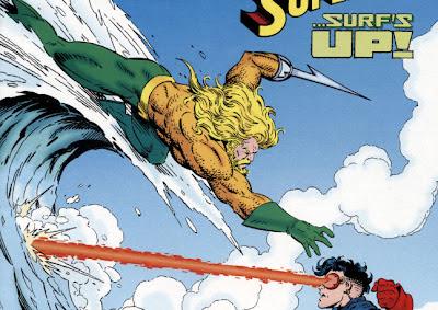 Aquaman leaps towards Superboy