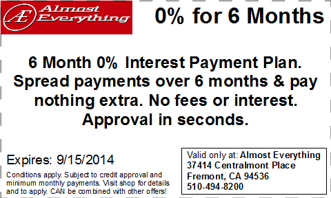 Coupon Almost Everything 6 Month Interest Free Payment Plan August 2014