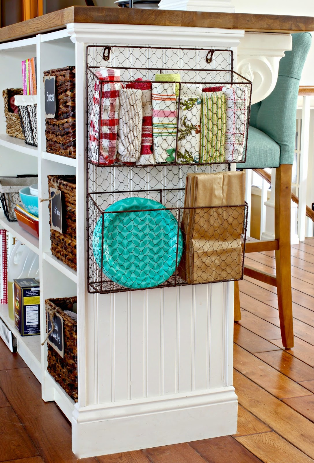 Hanging wire basket for kitchen storage. ll www.goldenboysandme.com