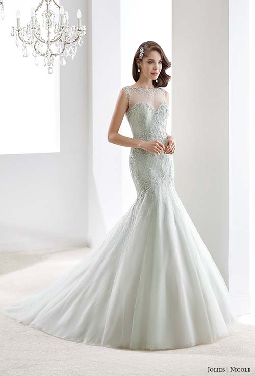 ball gown, blue, cap sleeves, champagne, champagne gold, collection: Jolies, color, gray, green, high to low, illusion, illusion neckline, label: Jolies, label: Nicole Spose, lavender, lilac, mermaid, mint green, overskirt, red, sleeves, strapless, week 292015, year: 2016