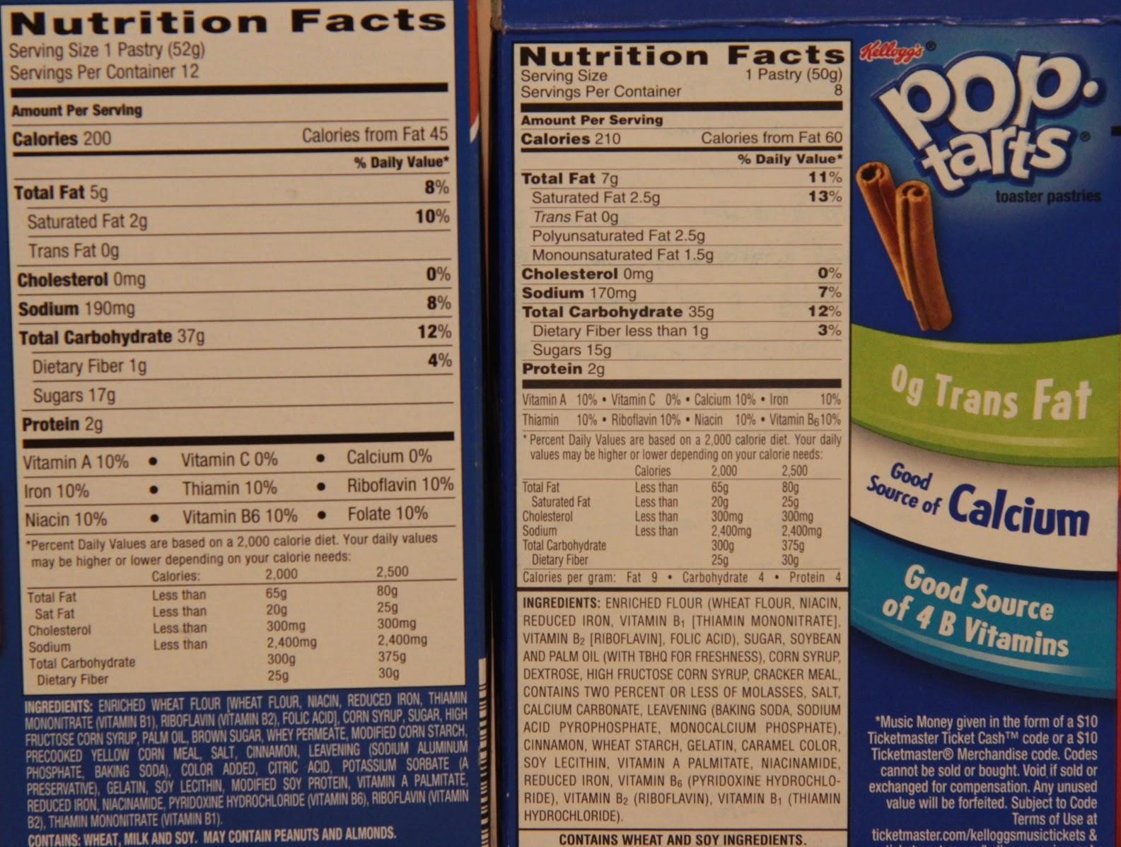 Aldi Millville Toaster Tarts vs. Kellogg's Pop Tarts Nutrition Facts