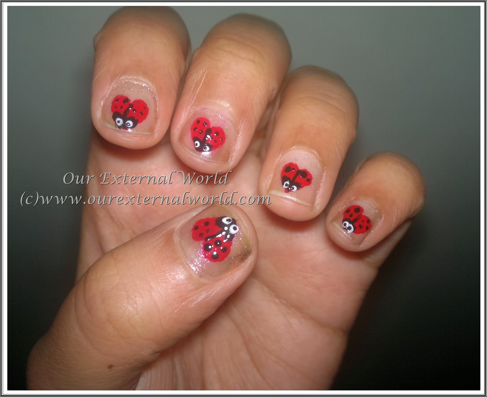Valentines Nail Art Tutorial Lady Bug Hearts
