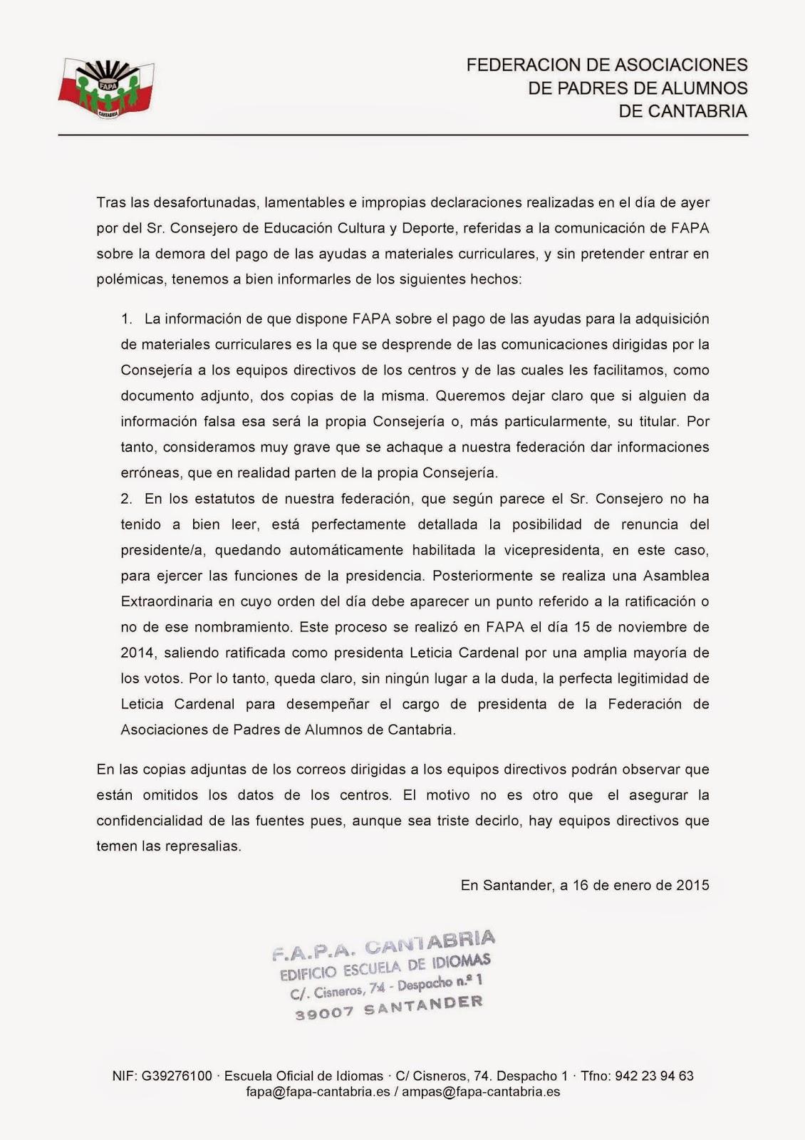 FAPA Cantabria: enero 2015