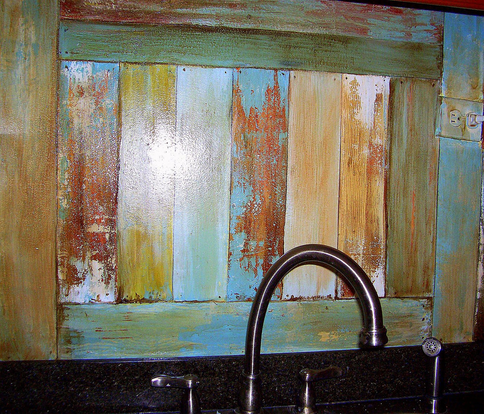 optimism and white paint faux reclaimed wood backsplash update