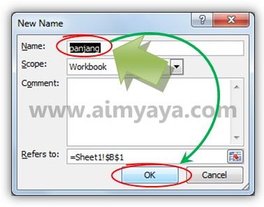Gambar: Membuat nama baru di Microsoft Excel