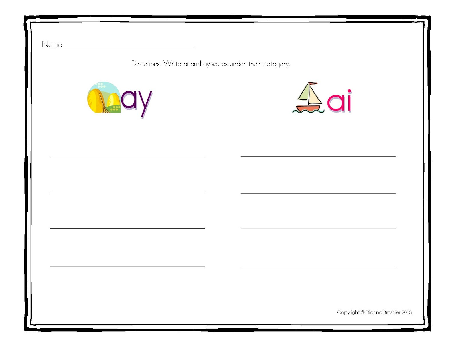 worksheet Words With Ay Duliziyou Worksheets for Elementary – Ai and Ay Worksheets