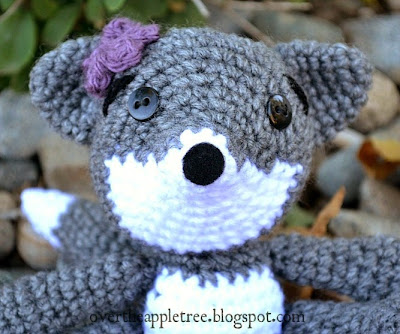 Amigurumi grey fox by Over The Apple Tree