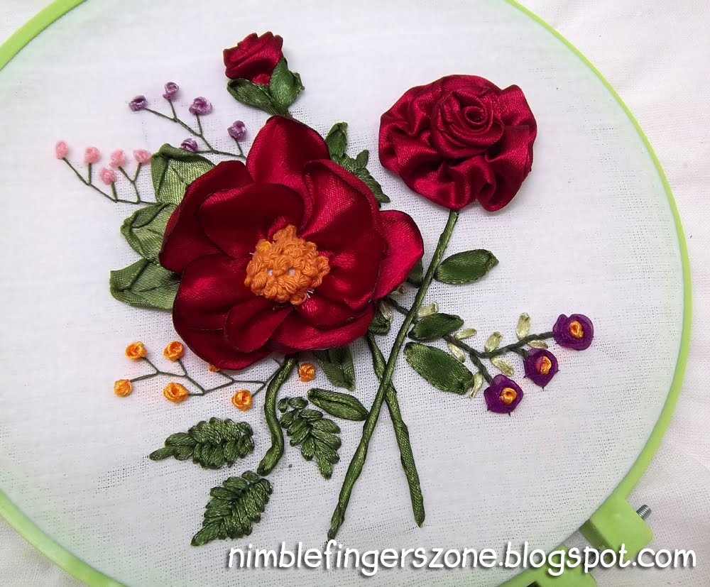 Roses ribbon embroidery nimble fingers zone