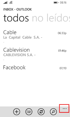windows phone, aplicación correo, outlook