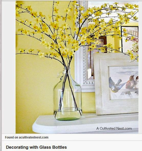 this forsythia arrangement and a little diy gave a plain glass vase a totally different feel with wine corks - Forsythia Arrangements