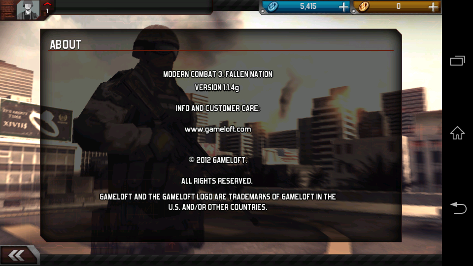 Modern Combat 3: Fallen Nation v1.1.4g apk data