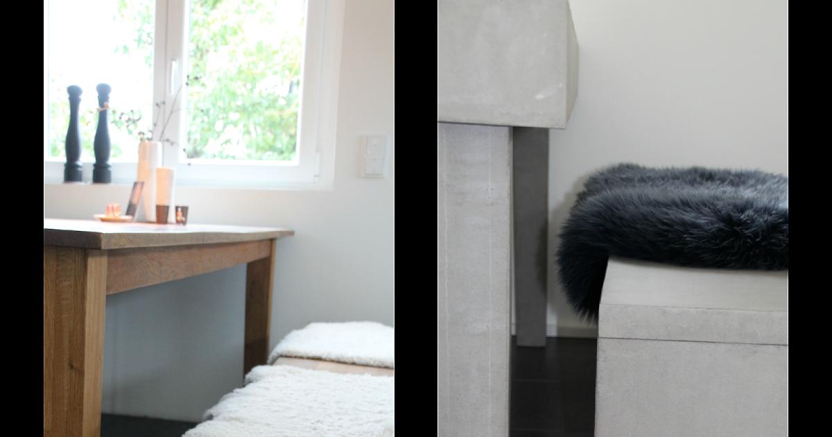 beton cire oberfl chen in beton look beton esstisch beschichtet mit besserbauen beton cire. Black Bedroom Furniture Sets. Home Design Ideas