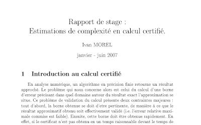 Rapport de stage : Estimations de complexité en calcul ...