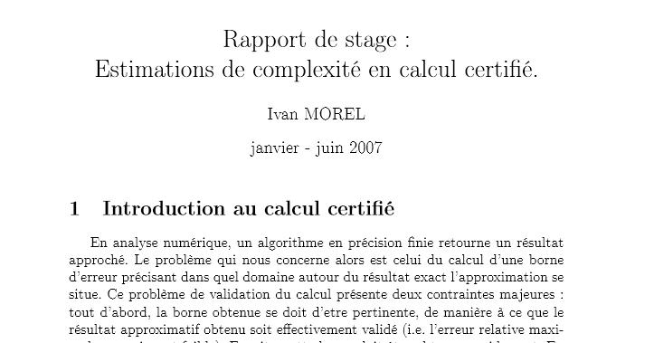 rapport de stage   estimations de complexit u00e9 en calcul
