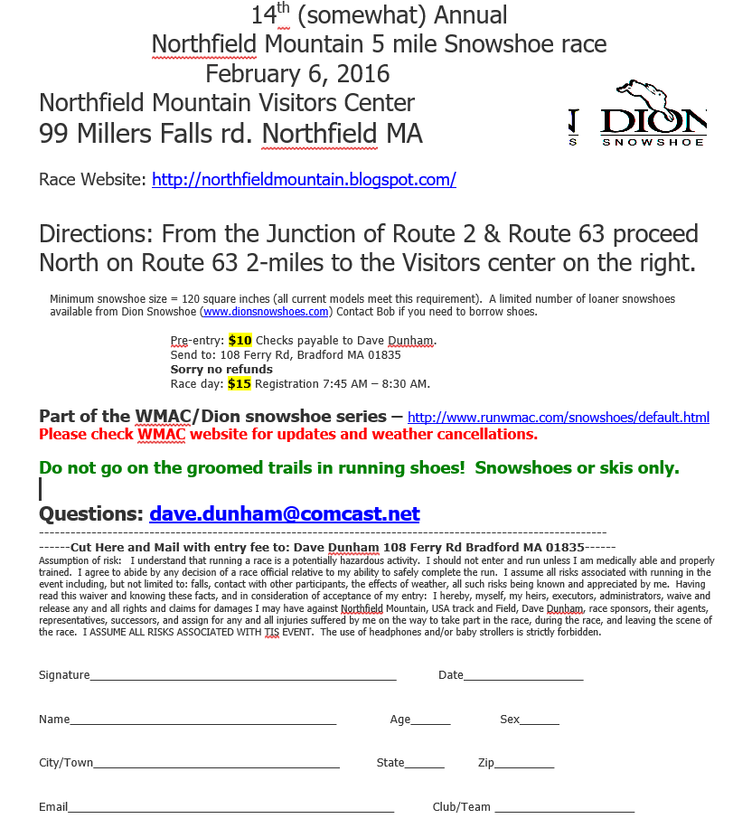 NF Snowshoe race 02-06-16