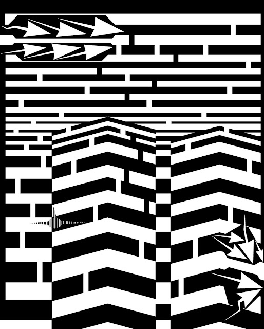 trippy maze art of the september 11th attacks on world trade center