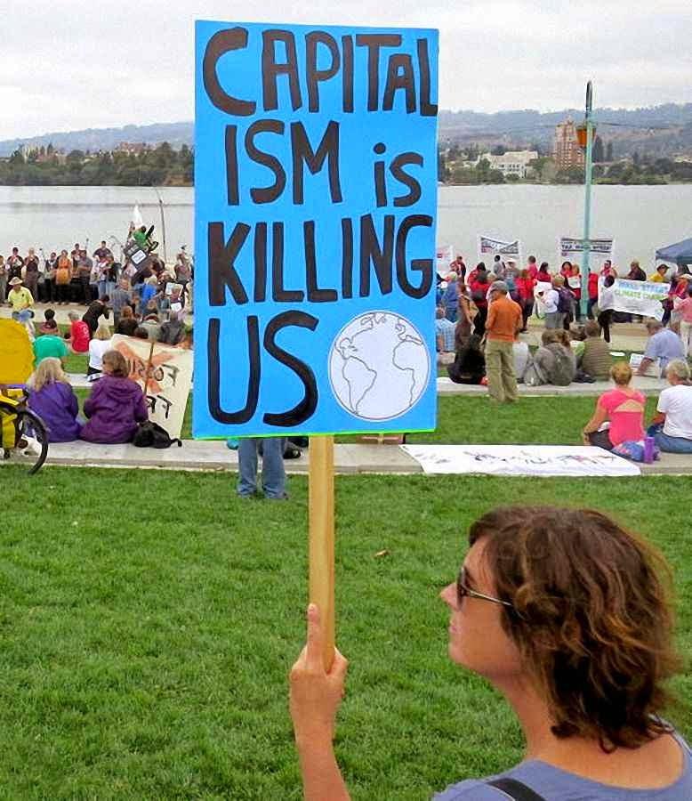 O verdadeiro inimigo e o capitalismo, como nos tempos da ex-URSS.  People's Climate Rally, Oakland, California, 23.9.2014