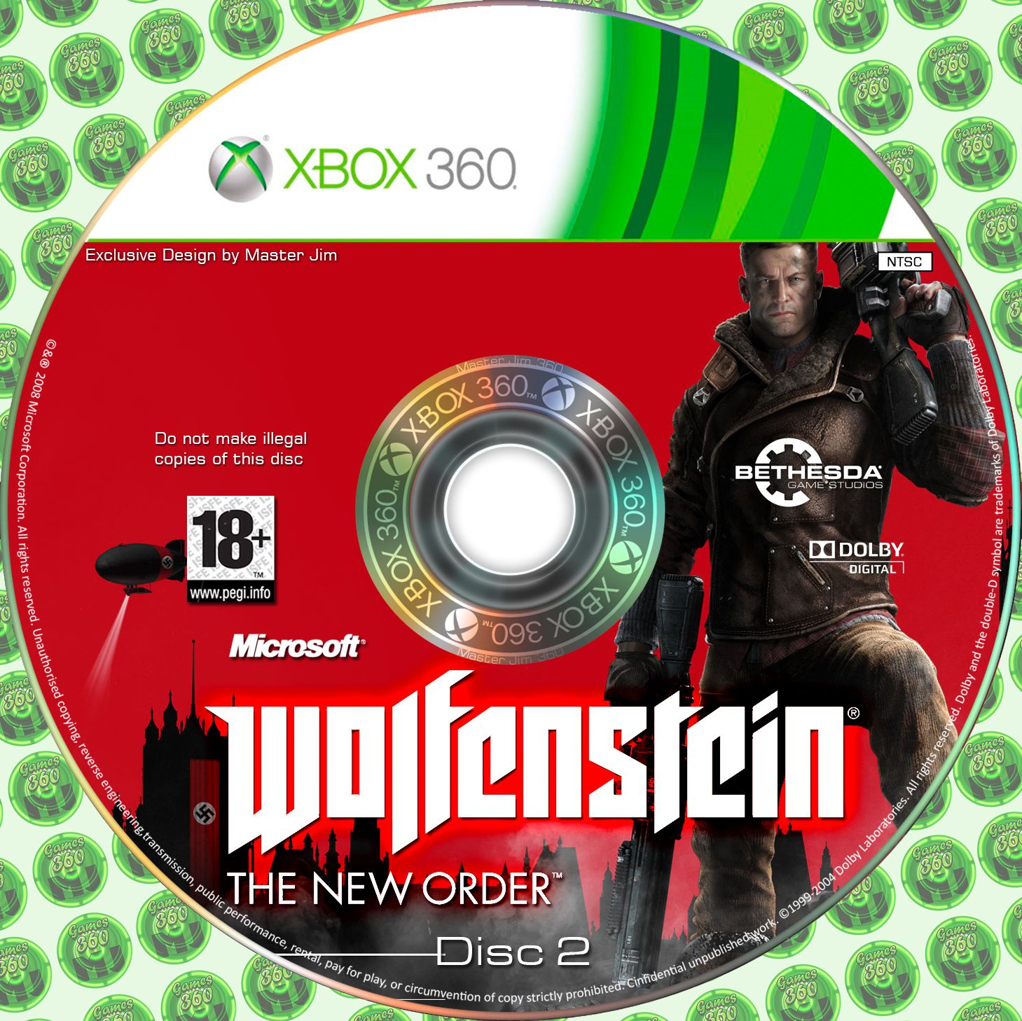 Label Walfenstein The New Order Disc 2 Xbox 360