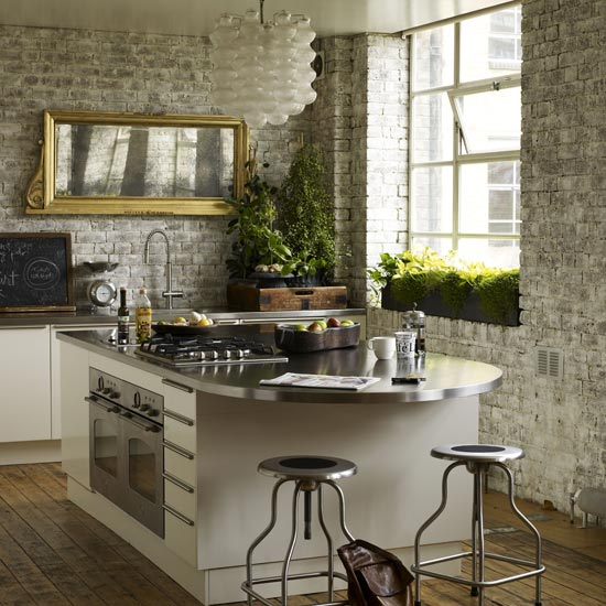id es de conception des murs de cuisine en briques. Black Bedroom Furniture Sets. Home Design Ideas