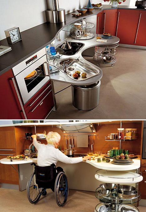 Wheelchair friendly kitchen design unpressable buttons Kitchen design for elderly